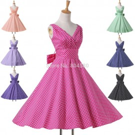 Summer Casual Women Clothing Deep V Neck Cotton Polka Dot Dress Short Flower patten dresses Retro Vintage Gown CL6295