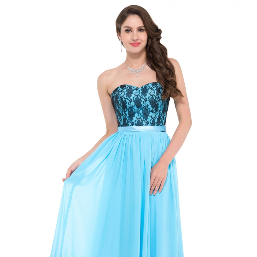 Cheap floor length corset appliques blue long bridesmaid for Cheap wedding guest dresses