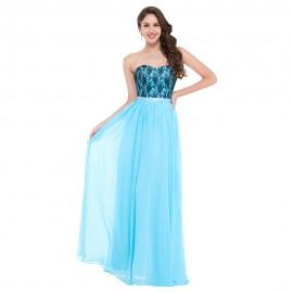 Cheap Floor length Corset Appliques Blue Long Bridesmaid Dress Party Wedding Guest Dresses Formal Sleeveless Empire Waist GK003