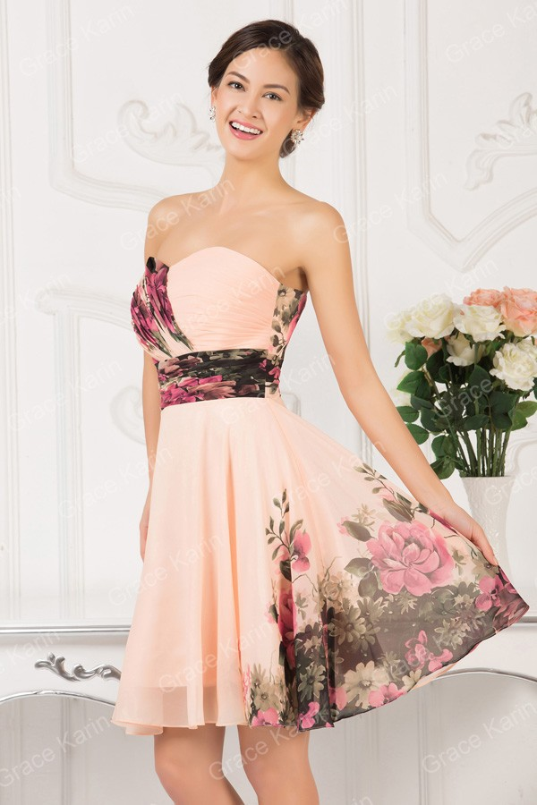 92db467ba38 Sexy Women Floral Print dress Runway Vintage Party Gown Short Pattern  Evening Prom dresses Formal CL7501