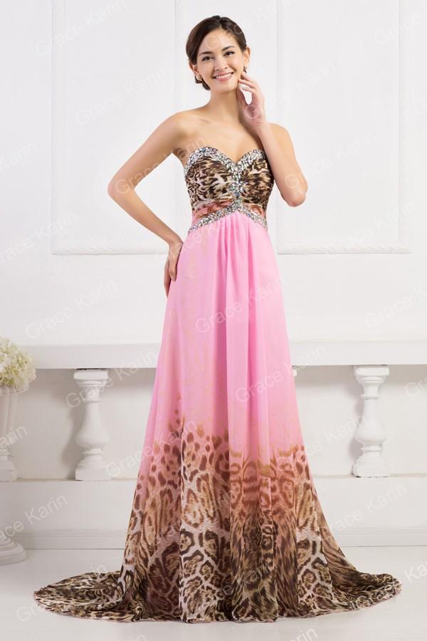 Grace Karin Sexy Women Leopard Pattern Prom Dress Chiffon