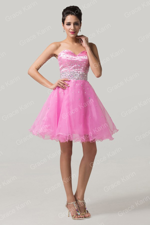 High Quality Grace Karin Knee Length Sequined Prom Dress Pink Cheap ...