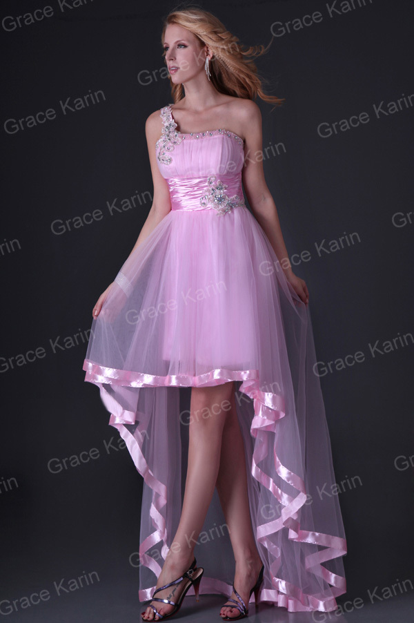 Latest dress designs One Shoulder Tulle Party Gown Short Front Long ...