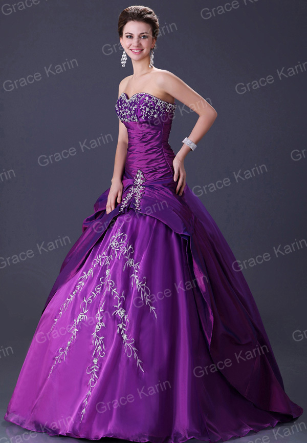 Beach Wedding Dresses Purple Hot Selling Satin Beads Ball Gown