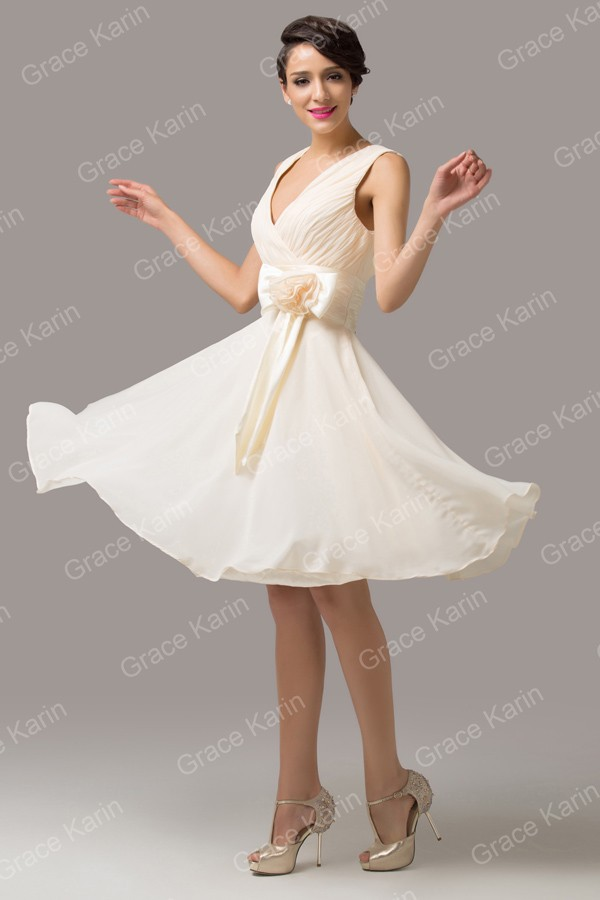 Latest Design Stock Deep V-Neck Chiffon Prom short Dress Formal ... 8143f6d066ee