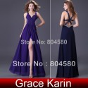 In stock Sexy V-neck split Long Formal Prom gown Royal Purple Navy Blue Evening Dress party elegant  CL4100