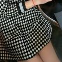 Elegant Jewel Neck Color Block Argyle Dress For Women