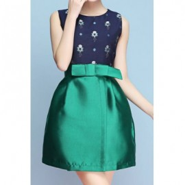 Elegant Jewel Neck Sleeveless Color Splicing Bowknot Dress For Women
