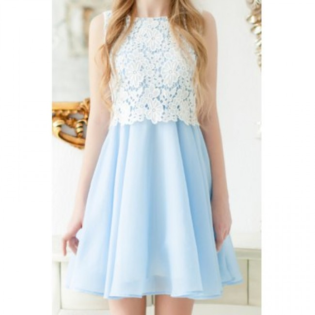 Elegant Jewel Neck Sleeveless Lace Splicing A-Line Dress For Women