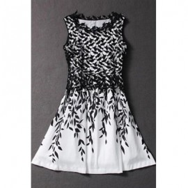 Elegant Jewel Neck Sleeveless Lace Splicing Sprint Print Dress For Women