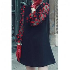 Elegant Jewel Neck Voile Splicing Polka Dot Dress For Women