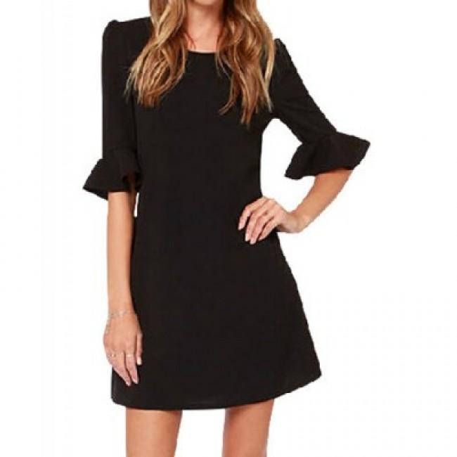 Elegant Scoop Neck Flare Sleeves Black Dress For Women