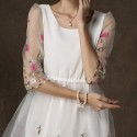 Elegant Scoop Neck Half Sleeves Embroidered Dress For Women
