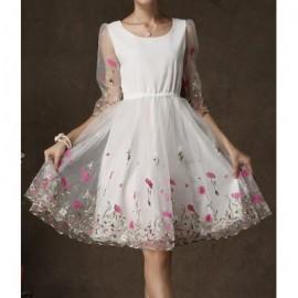 Elegant Scoop Neck Half Sleeves Embroidered Dress For Women