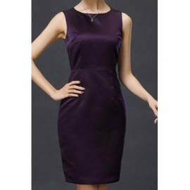 Elegant Scoop Neck Solid Color Sleeveless Dress For Women
