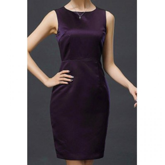 Elegant Scoop Neck Solid Color Sleeveless Dress For Women