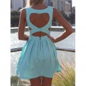 Elegant Sweetheart Neck Sleeveless Solid Color Backless Dress For Women