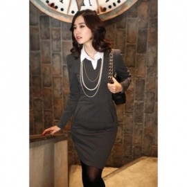 Elegant V-Neck Narrow Waist Solid Color Long Sleeve Slimming OL Women's Dress With Belt