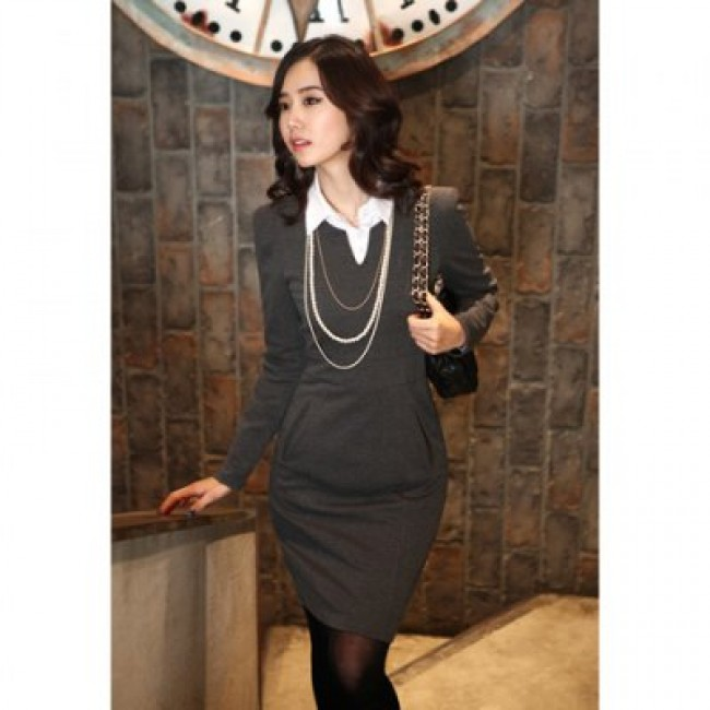 Elegant V-Neck Narrow Waist Solid Color Long Sleeve Slimming OL Women's Dress With Belt
