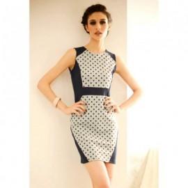 Elegant Polka Dot Scoop Neck Sleeveless Women's Vintage Dress