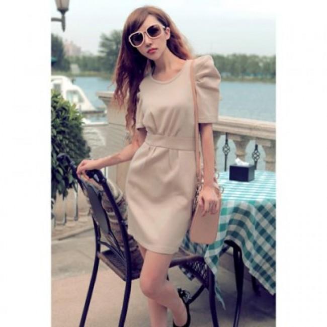 Elegant Scoop Neck Short Sleeve Back Zipper Solid Color Women's Dress