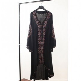 Ethnic Style V-Neck Embroidered Drawstring Waist Long Sleeve Women's Dress