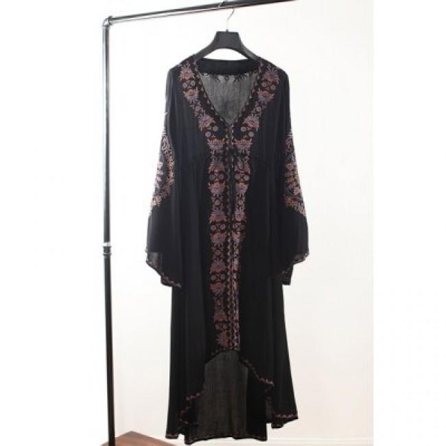 Ethnic Style V-Neck Embroidered Drawstring Waist Long Sleeve Women's Dress