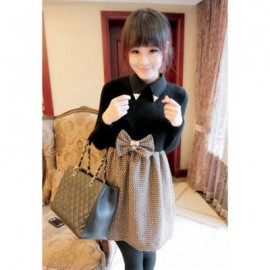Exquisite Polo Neck Large Bowknot Embellished Splice Design Long Sleeve Women's Dress