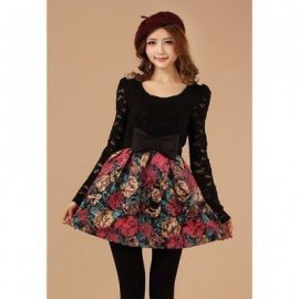 Glamour Lace Splice Rose Print Narrow Waist Women's Dress With Belt
