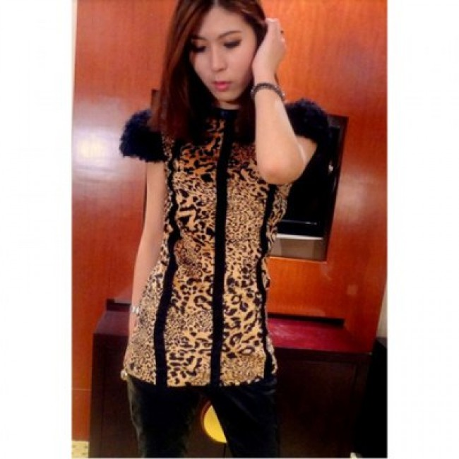 Glamour Leopard Print Artificial Wool Short Sleeve Splice Slim Fit Women's Dress
