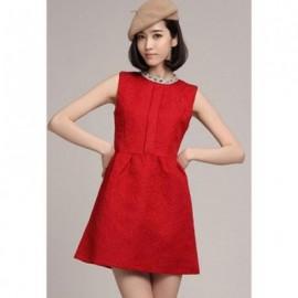 Glamour Rhinestone Embellished Sleeveless Women's Jacquard Dress