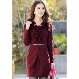 Glamour V-Neck Flounce Hem Metal Chain Embellished Long Sleeve Solid Color Slimming Women's Dress