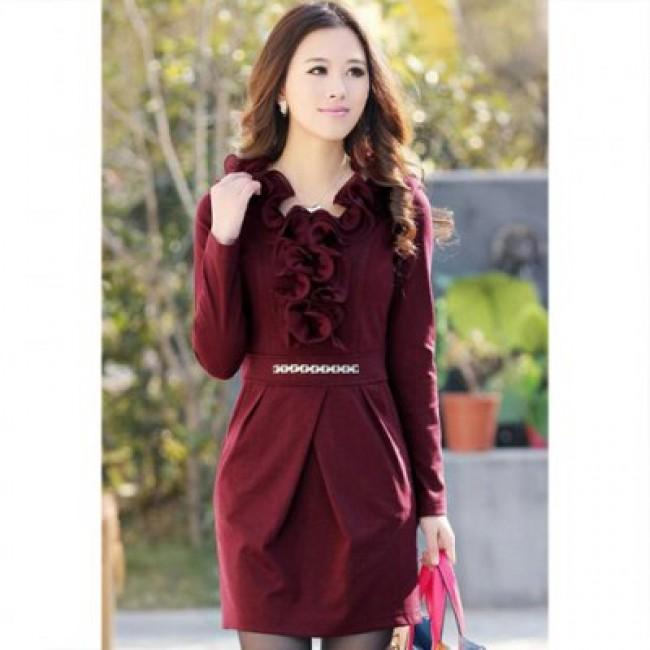Glamour V-Neck Flounce Hem Metal Chain Embellished Long Sleeve Solid Color Slimming Women's Dress