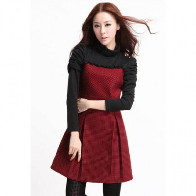 Graceful High Neck Splice Design Checked Print Puff Sleeve Slimming Woolen Blend Women's Dress