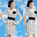 Lady Style Elegant Large Polka Dot Embellished Short Sleeves Dress For Women
