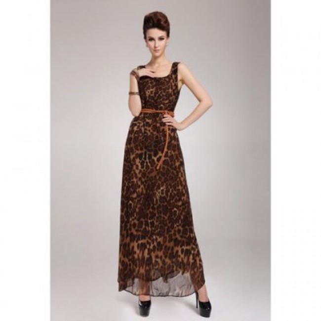 Leopard Print Scoop Neck Sleeveless Chiffon Retro Style Women's Maxi-Dress