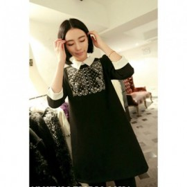 Palace Style Shirt Neck 3/4 Sleeves Golden Faux Pearl Decoration Chest Color Match Polyester Women's Dress