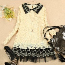 Preppy Style Polo Neck Voile Splice Long Sleeve Women's Lace Dress