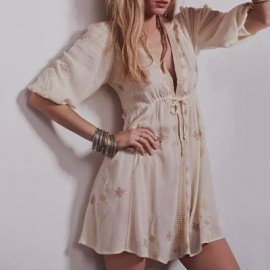 Retro Style V-Neck Embroidery 3/4 Sleeve Dress For Women