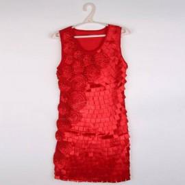 Scoop Neck Red Handmade Flowers Square Paster Women's Sleeveless Net+Satin Dress