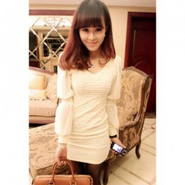Sexy V-Neck Ruffle Design Chiffon Splice Balloon Sleeve Solid Color Slimming Women's Dress