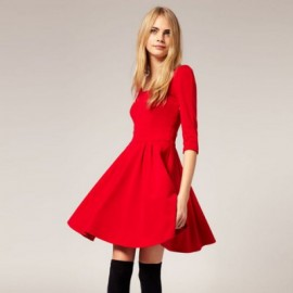 Slimming Solid Color Half Sleeves and Plunging Neck Big Hem Design Dress For Women