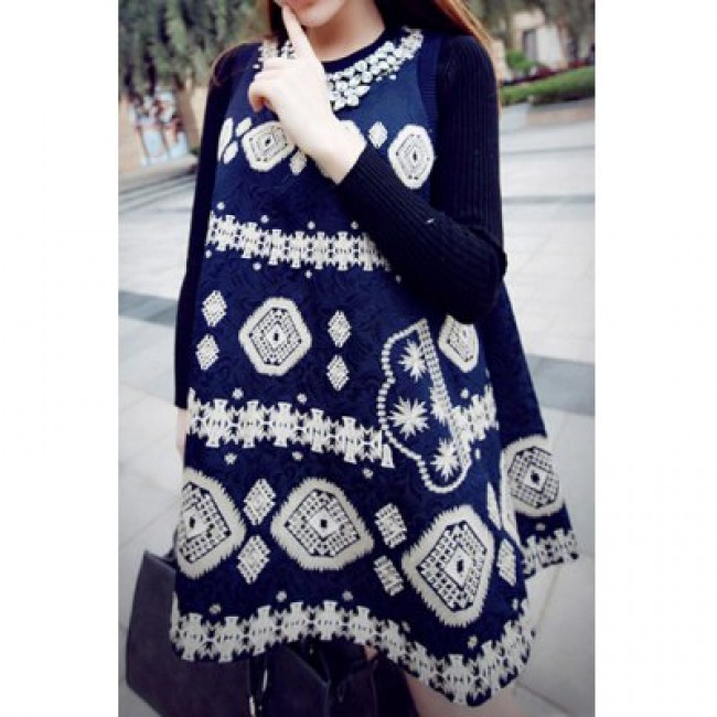 Stylish Jewel Neck Sleeveless Print Jacquard Dress For Women