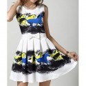 Stylish Scoop Neck Sleeveless Horse Print Pleated Dress For Women
