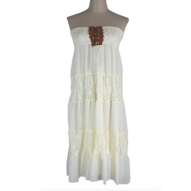 Sweet Lace-Up Embellished Special Openwork Design Ruffle Sleeveless Dress For Women