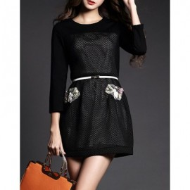 Vintage 3/4 Length Sleeves Solid Color Handmade Flowers Dress For Women