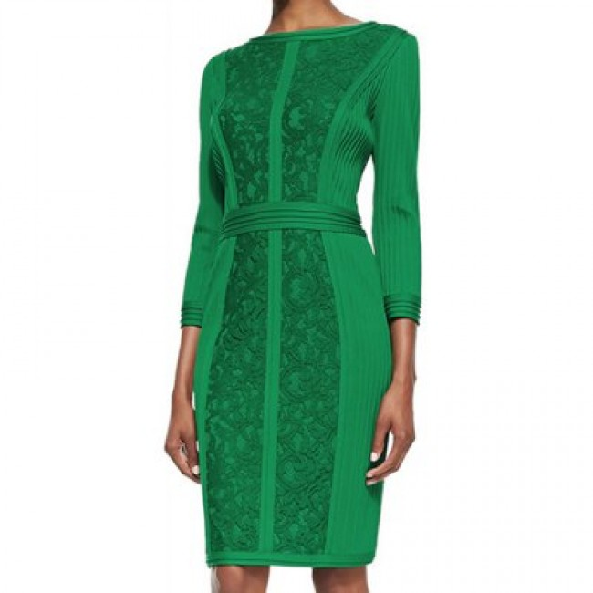 Vintage 3/4 Length Sleeves Solid Color Hollow Out Dress For Women