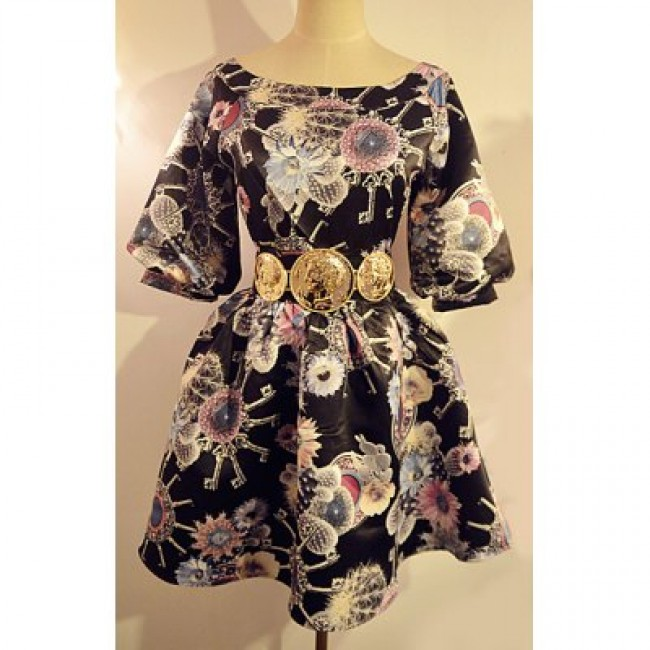 Vintage Boat Neck 3/4 Sleeves Print Dress For Women