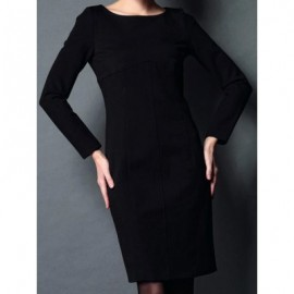Vintage Boat Neck Long Sleeves Solid Color Bodycon Dress For Women