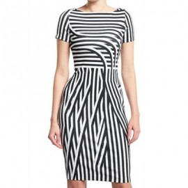 Vintage Boat Neck Short Sleeves Striped Bodycon Dress For Women